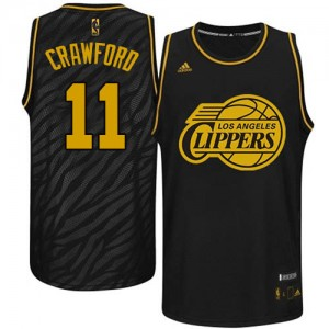 Maillot NBA Los Angeles Clippers #11 Jamal Crawford Noir Adidas Authentic Precious Metals Fashion - Homme