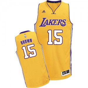 Los Angeles Lakers #15 Adidas Home Or Swingman Maillot d'équipe de NBA 100% authentique - Jabari Brown pour Homme
