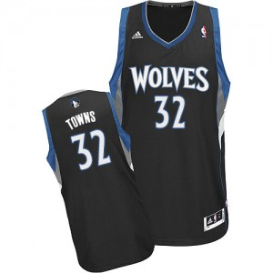 Minnesota Timberwolves Karl-Anthony Towns #32 Alternate Swingman Maillot d'équipe de NBA - Noir pour Homme