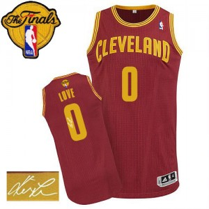 Maillot Adidas Vin Rouge Road Autographed 2015 The Finals Patch Authentic Cleveland Cavaliers - Kevin Love #0 - Homme