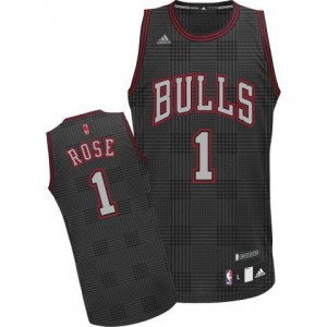 Maillot NBA Noir Derrick Rose #1 Chicago Bulls Rhythm Fashion Authentic Homme Adidas