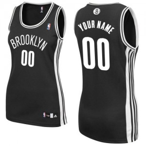 Maillot NBA Authentic Personnalisé Brooklyn Nets Road Noir - Femme
