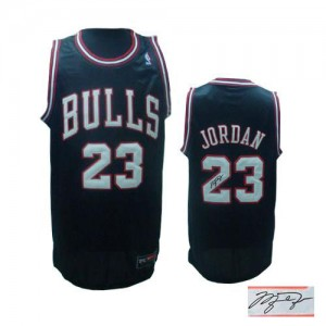 Maillot Adidas Noir Alternate Autographed Authentic Chicago Bulls - Michael Jordan #23 - Homme