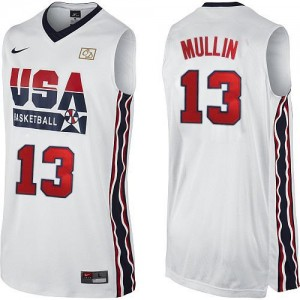 Maillot NBA Blanc Chris Mullin #13 Team USA 2012 Olympic Retro Authentic Homme Nike