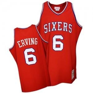 Philadelphia 76ers Mitchell and Ness Julius Erving #6 Throwback Authentic Maillot d'équipe de NBA - Rouge pour Homme