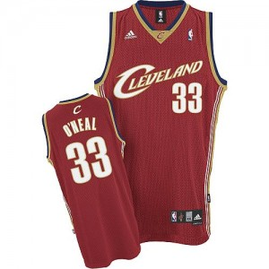 Maillot NBA Cleveland Cavaliers #33 Shaquille O'Neal Rouge Adidas Swingman Throwback - Homme