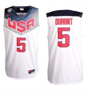 Maillot NBA Team USA #5 Kevin Durant Blanc Nike Swingman 2014 Dream Team - Homme
