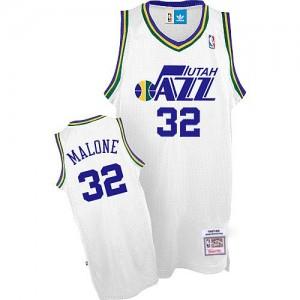 Maillot NBA Blanc Karl Malone #32 Utah Jazz Throwback Authentic Homme Adidas