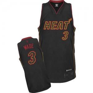 Maillot Adidas Fibre de carbone noire Fashion Authentic Miami Heat - Dwyane Wade #3 - Homme