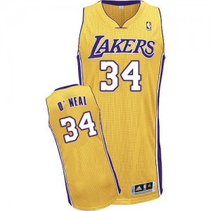 Maillot Authentic Los Angeles Lakers NBA Home Or - #34 Shaquille O'Neal - Homme