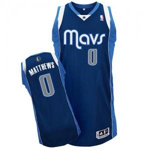 Dallas Mavericks Wesley Matthews #0 Alternate Authentic Maillot d'équipe de NBA - Bleu marin pour Enfants