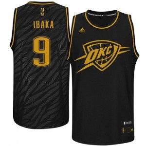 Maillot Adidas Noir Precious Metals Fashion Authentic Oklahoma City Thunder - Serge Ibaka #9 - Homme