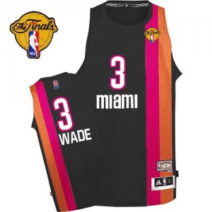 Maillot Adidas Noir ABA Hardwood Classic Finals Patch Authentic Miami Heat - Dwyane Wade #3 - Homme