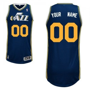 Maillot NBA Bleu marin Authentic Personnalisé Utah Jazz Road Enfants Adidas