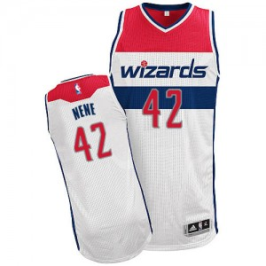 Maillot Adidas Blanc Home Authentic Washington Wizards - Nene #42 - Homme