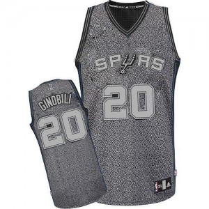 Maillot NBA Authentic Manu Ginobili #20 San Antonio Spurs Static Fashion Gris - Homme