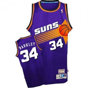 Maillot NBA Phoenix Suns #34 Charles Barkley Violet Mitchell and Ness Authentic Throwback - Homme