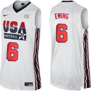 Team USA #6 Nike 2012 Olympic Retro Blanc Authentic Maillot d'équipe de NBA achats en ligne - Patrick Ewing pour Homme