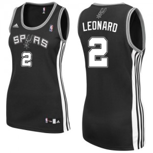 Maillot Adidas Noir Road Authentic San Antonio Spurs - Kawhi Leonard #2 - Femme