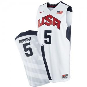 Team USA Nike Kevin Durant #5 2012 Olympics Authentic Maillot d'équipe de NBA - Blanc pour Homme