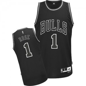 Maillot NBA Noir Derrick Rose #1 Chicago Bulls Shadow Authentic Homme Adidas