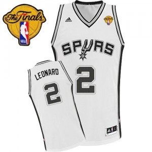 San Antonio Spurs Kawhi Leonard #2 Home Finals Patch Swingman Maillot d'équipe de NBA - Blanc pour Enfants
