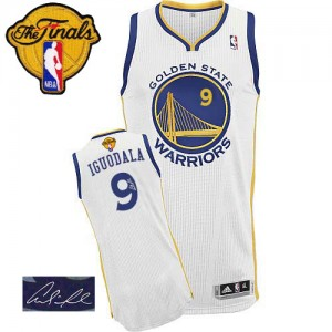 Maillot Authentic Golden State Warriors NBA Home Autographed 2015 The Finals Patch Blanc - #9 Andre Iguodala - Homme