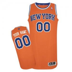 New York Knicks Authentic Personnalisé Alternate Maillot d'équipe de NBA - Orange pour Homme