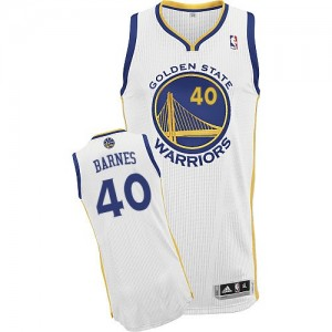Maillot NBA Golden State Warriors #40 Harrison Barnes Blanc Adidas Authentic Home - Homme