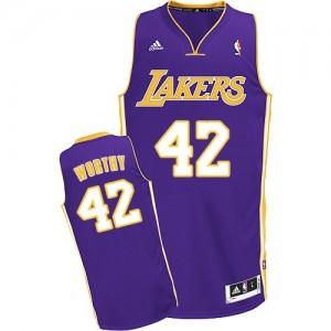 Los Angeles Lakers #42 Adidas Road Violet Swingman Maillot d'équipe de NBA la vente - James Worthy pour Homme