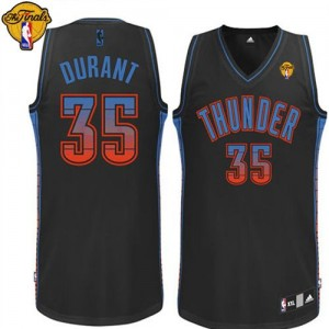 Maillot NBA Authentic Kevin Durant #35 Oklahoma City Thunder Vibe Finals Patch Noir - Homme