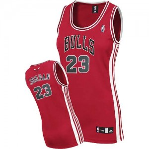 Maillot NBA Chicago Bulls #23 Michael Jordan Rouge Adidas Authentic Road - Femme