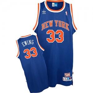 New York Knicks #33 Adidas Throwback Bleu royal Swingman Maillot d'équipe de NBA Vente pas cher - Patrick Ewing pour Homme