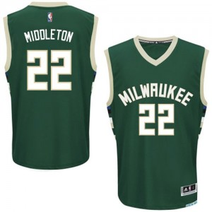 Maillot NBA Milwaukee Bucks #22 Khris Middleton Vert Adidas Authentic Road - Homme