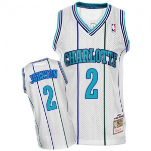 Maillot NBA Authentic Larry Johnson #2 Charlotte Hornets Throwback Blanc - Homme