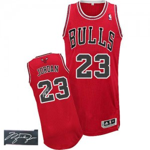 Chicago Bulls Michael Jordan #23 Road Autographed Authentic Maillot d'équipe de NBA - Rouge pour Homme