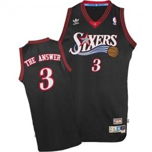 """Philadelphia 76ers #3 Mitchell and Ness """"The Answer"""" Throwback Noir Authentic Maillot d'équipe de NBA en ligne pas chers - Allen Iverson pour Homme"""