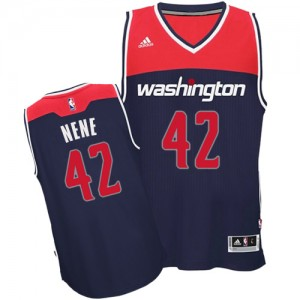 Maillot Adidas Bleu marin Alternate Authentic Washington Wizards - Nene #42 - Homme