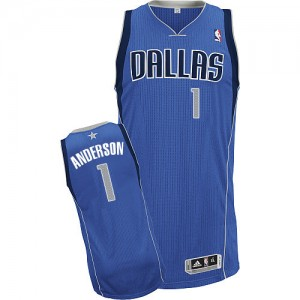 Maillot Adidas Bleu royal Road Authentic Dallas Mavericks - Justin Anderson #1 - Homme