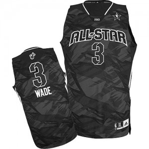 Maillot Adidas Noir 2013 All Star Authentic Miami Heat - Dwyane Wade #3 - Homme