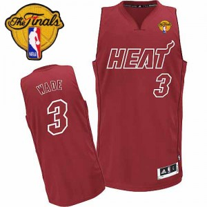 Maillot NBA Miami Heat #3 Dwyane Wade Rouge Adidas Swingman Big Color Fashion Finals Patch - Homme