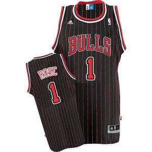 Maillot NBA Noir Rouge Derrick Rose #1 Chicago Bulls Strip Authentic Homme Adidas