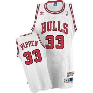 Chicago Bulls Scottie Pippen #33 Throwback Authentic Maillot d'équipe de NBA - Blanc pour Homme