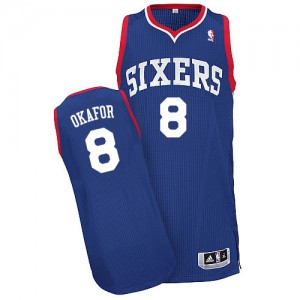 Maillot Adidas Bleu royal Alternate Authentic Philadelphia 76ers - Jahlil Okafor #8 - Homme