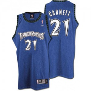 Maillot NBA Slate Blue Kevin Garnett #21 Minnesota Timberwolves Throwback Swingman Homme