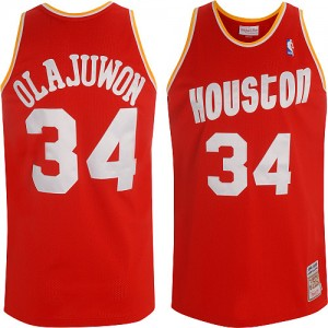 Houston Rockets Mitchell and Ness Hakeem Olajuwon #34 Throwback Authentic Maillot d'équipe de NBA - Rouge pour Homme