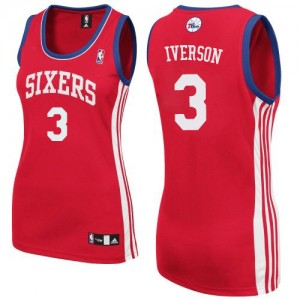 Philadelphia 76ers #3 Adidas Road Rouge Authentic Maillot d'équipe de NBA en vente en ligne - Allen Iverson pour Femme
