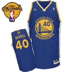 Maillot NBA Golden State Warriors #40 Harrison Barnes Bleu royal Adidas Swingman Road 2015 The Finals Patch - Homme