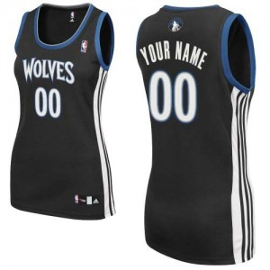 Maillot Adidas Noir Alternate Minnesota Timberwolves - Authentic Personnalisé - Femme