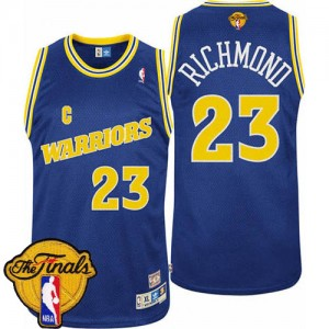 Maillot Authentic Golden State Warriors NBA Throwback 2015 The Finals Patch Bleu - #23 Mitch Richmond - Homme